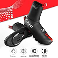 Volwco Bike Bicycle Shoe Covers Overshoes, Cold-proof & Waterproof MTB Mountain Road Cycling Shoe Covers Warmer Bicycle Overshoes Booties Covers with Reflective Design - Thin Shoes Cover