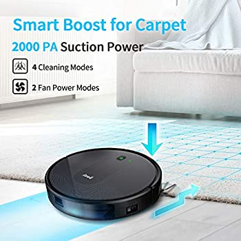 INSE Robot Vacuum Cleaner, 2000Pa Strong Suction, WiFi Alexa Connected, Super-Thin, Quiet, Smart Self-Charging, APP Remote Control, Auto Sweeper for Pet Hair Hard Floor Carpets, 2 Boundary Strips