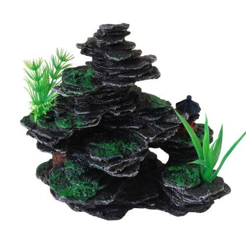 Aquarium-Fish-Tank-Ornament-Decoration-Small-Rocks-with-Plastic-Plants