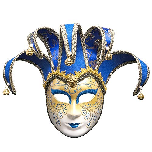 Fulltime E-Gadget Weihnachtsfeier Maske, Venezianische Joker Maskerade Theatermaske Karneval-Party-Ballmaske (Blau)