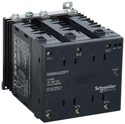 Schneider SSM3A325P7 Halbleiterrelais, Hutschiene, E: 180-280VAC, A: 48-600VAC, 3x 25 A, 3PH, Nullsp