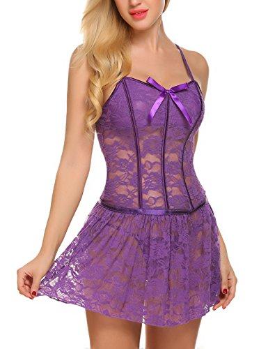 ADOME Unterwäsche Babydoll Damen Kleider Lace BH Kleid String Set (Lace Baby Doll Kleid)