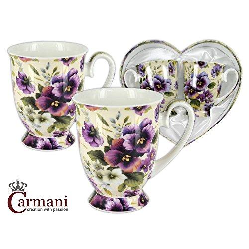 CARMANI - Tasse élégant décoré avec fleur 'pensée', jeu de 2