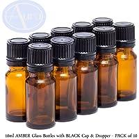 10er-PACKUNG - 10ml BRAUNGLAS-Flaschen mit Schwarzen Sicherheitsverschlusskappen & Dosier-Tropfern. Ätherisches... preisvergleich bei billige-tabletten.eu