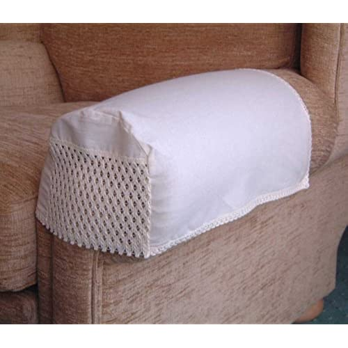 Exceptional Trellis Arm Caps/Covers (Pair) For Chairs And Settees. Finished In Soft  Cream. Nottingham Lace Front Panel.