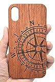 Holzsammlung Coque iPhone X/iPhone XS en Bois Véritable - Boussole et PC de Rosewood...