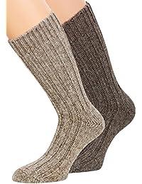 Alpaka Socken Wollsocken 100% Natur Alpaka mit Wolle Herren Damen wie Handgestrickt aus Alpaka mit Wolle, 2 Paar, Gr. 43-46, 39-42, 35-38.