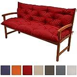 Beautissu® Flair BR - Colchón, respaldo, cojín de bancos de jardín, terraza o balcón - 120x100x10 cm - Rojo