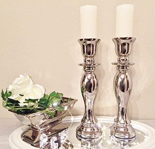 DRULINE 2 X 32cm Kerzenleuchter Kerzenhalter Geschwungen Antik Kerzenständer Kerzeneinsatz Stumpenkerzen Tafelkerze Taufkerzen Kommunionkerzen Heimdekoration Teelichthalter Dekoration Silber