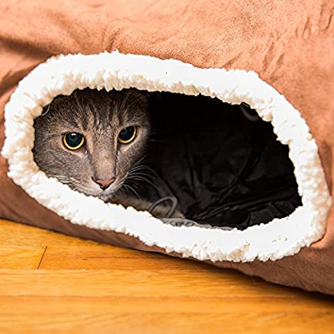 Interaktives Katzentunnel-Spielzeug – Bestens geeignet für verspielte Katzen und Katzenbabys – Katzenversteck mit Tunnelfortsätzen – Weich und 100 % tierfreundlich – Extra großer