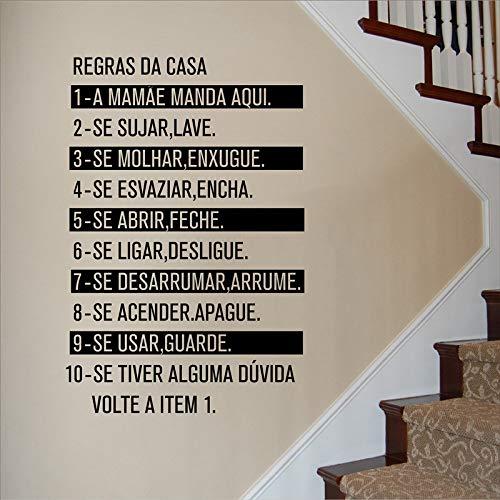 Geiqianjiumai Creative Home Art Deco Mobile Wand Familie Hausordnung Portugiesisch Sprache Poster Wandaufkleber Regel 63 cm x 94.5 cm