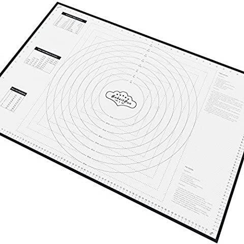 BakeitFun XX-Large Silicone Pastry Mat With Measurements - 85 x 57 cm - Full Sticks To Countertop For Rolling Dough - Conversion Information Included - Perfect Fondant Surface - Professional Size, Black