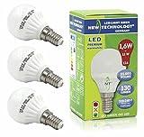 NT LED Lampe Tropfen 1,6W ersetzt Glühlampe 15W Tropfenform E14 Sockel / Fassung warmweiß 130 Lumen, 2900K, matt, Art. 101060, 3er-Pack