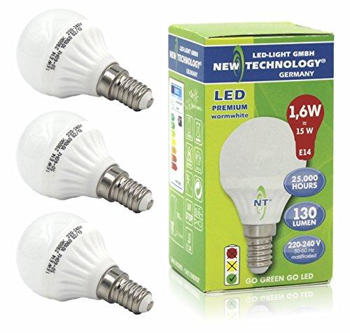 NT LED Lampe Tropfen 1,6W ersetzt Glühlampe 15W Tropfenform E14 Sockel / Fassung warmweiß 130 Lumen, 2900K, matt, Art. 101060, 3er-Pack - 2900k Lampe