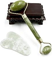 Masajeador de rodillos de jade para masajes faciales antienvejecimiento, gua, sha, raspar, masajeador, terapia, rodillo...