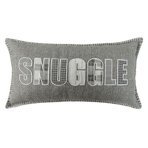 gefüllt Boudoir Silber Grau Snuggle Herringbone Kissen passend zum Bettbezug 28x 48cm (Grau Boudoir Kissen)