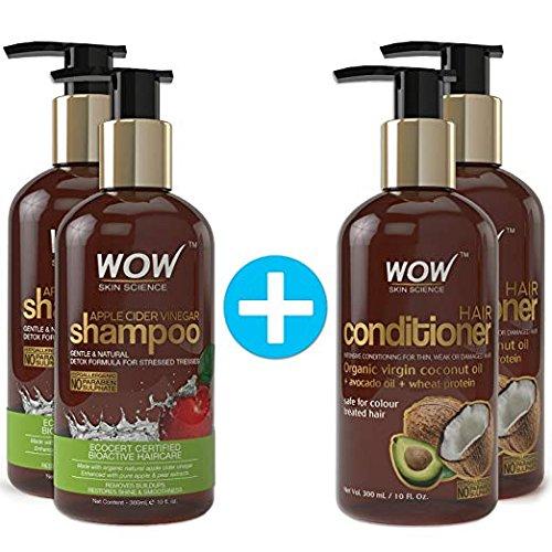 Wow aceto di mele shampoo + wow hair conditioner set (10fl. oz ogni)–no solfati o parabeni (2pack combo)