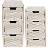 CrazyGadget Rattan Style 2pcs 2 Pieces Plastic Small 3 Drawer & 4 Drawer Tower Storage Unit Set for School Home Office - Made In U.K. (Mushroom)