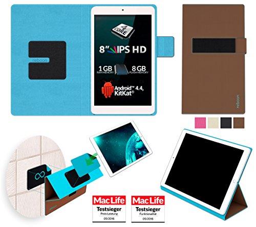 reboon Allview Viva Q8 Pro Hülle Tasche Cover Case Bumper | Braun | Testsieger