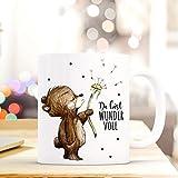 Tasse Becher Bär & Pusteblume Geschenk Kaffeebecher mit Spruch Motto Zitat Du bist Wundervoll ts567 ilka parey wandtattoo-welt®