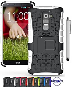 ShopNY Case - Samsung LG G2 Case-Heavy Duty Rugged Dual Layer Holster Case with Kickstand (LG G2 Case, Black) (White)