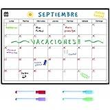 SmartPanda Calendario Magnético para Nevera - Una Manera Perfecta de Organizarse - Ideal Planificador de Menú, Recordatorio, Lista de la Compra - Pizarra Magnética Incluye 4 Rotuladores de Color - Mensual - En Español