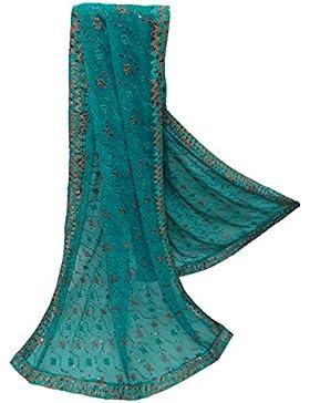 India Vendimia Dupatta Georgette Tela Mujeres Bordadas Chal Azul Tradicional Larga Estola