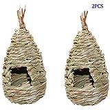 LAQI 2 Pezzi Nido d'uccello Erba capanna per Uccelli casa per Uccelli appesa in Fibra Tessuta a Mano casa per Uccelli posatoio Tasca per Uccelli rifugio da Predatori fornisce Riparo