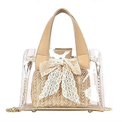 XYFL Transparente Tasche Für Frauen Klare Handtasche Tragetaschen Mit Innenkupplung Mädchen wasserdichte Strandtaschen,Khaki