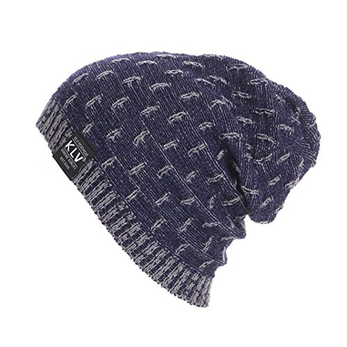 ESAILQ Damen Herren Warme häkeln Winter Wolle stricken Ski Beanie Schädel Slouchy Caps Hut (Marine)
