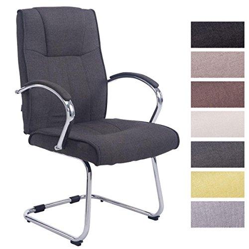 CLP Besucher Freischwinger-Stuhl BASEL V2 Stoff mit Armlehne, Konferenzstuhl, gepolstert, Metall dunkelgrau