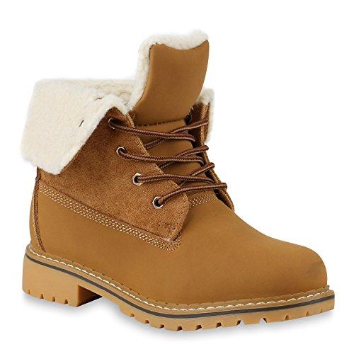Damen Schuhe Worker Boots Warm gefüttert mit Blockabsatz Flandell Hellbraun Bexhill