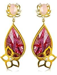 Miranika Gold Plated Drop Earrings for Women (Multi-Colour)(C1D12AP1)