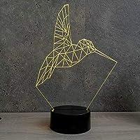 Lampe Colibri Origami 16 couleurs RGB & télécommande - Fabriquée en France - Lampe de table - Lampe veilleuse - Lampe d'ambiance