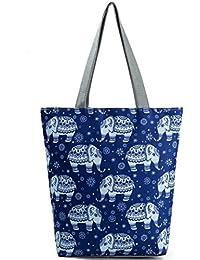 Imported&new E Embroidery Flamingo Printed Shoulder Bag Lady Colorful Canvas Tote Handbag