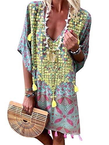 ORANDESIGNE Damen Sommerkleider V-Ausschnitt Strandkleider Kurzarm Casual A-Linie Kleid Boho Kleid Bohemian Quaste Midi Kleid Gelb DE 42