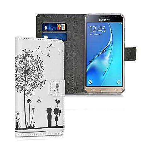 Housse Samsung Galaxy J5 2016 Coque Pissenlit noir blanc Portefeuille Motif Languette Magnétique + 1 Large Fente Et 2 Emplacements Carte CB à L'Intérieur De L'Etui - Autres Motifs Disponibles - Ordica France®