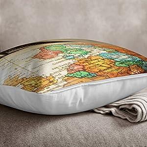 Big Box Art «Blanco con Globo Mapa del Mundo 1» cojín Manta Almohada, Multicolor, 43x 43cm