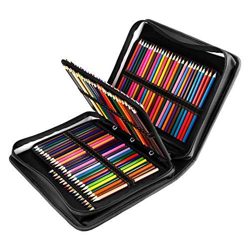 180 Slots PU Leder farbigen Bleistift Fall - Großes Fassungsvermögen, der Fall für Prismacolor Aquarell Bleistifte, Crayola Buntstifte, Marco Stifte von YOUSHARES (Schwarz)