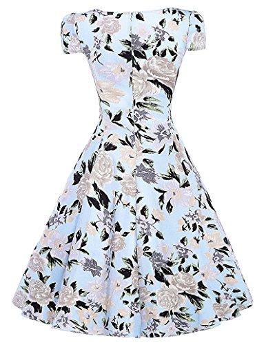 Klassische Vintage Rockabilly kleid Picknick Kleid Partykleid Mit Blumenmuster XL BP007-1 -