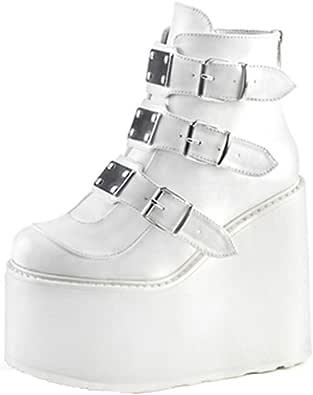 Stivaletti con Piattaforma Alta con Cerniera Cinturino Moda Donna Decorazione Scarpe con Zeppe Alte Sneakers da Donna per Esterno Altezza Crescente 9 cm