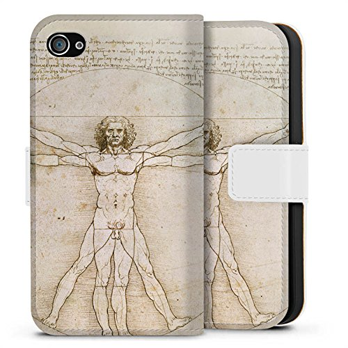Apple iPhone X Silikon Hülle Case Schutzhülle Leonardo da Vinci The Proportions of Man Kunst Sideflip Tasche weiß