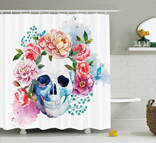JIEKEIO Skulls Decorations Shower Curtain Set, Funny Skull with Colorful Floral Head Victorian Style Dead Skeleton Graphic Art Print, Bathroom Accessories,60 * 72inch Inches, Multi - Victorian Lodge