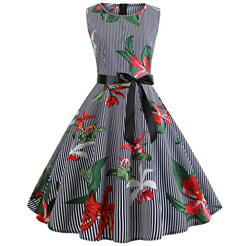 Lonshell Robes Femme Impression Vintage 1950's Audrey Hepburn Pin-up Robe de Soirée Cocktail Style Halter Années 50 à Pois (M, Violet 11)