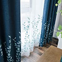 Melodieux Flower Embroidery Sheer Curtain - Window Rod Pocket Top Voile Curtains for Bedroom Living Room, 140 X 260CM- White/Blue, 1 Panel