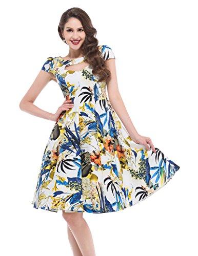 Belle Poque Damen 50er Rockabilly Kleid Petticoat Kleid Vintage Retro Kleid BP008 BP008-1