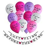 Konsait Junggesellenabschied Party Dekoration Banner Girlande Wimpelkette Last Fling Before The Ring mit Luftballons Spielzeug (12Stück) Junggesellinnenabschied deko zubehör