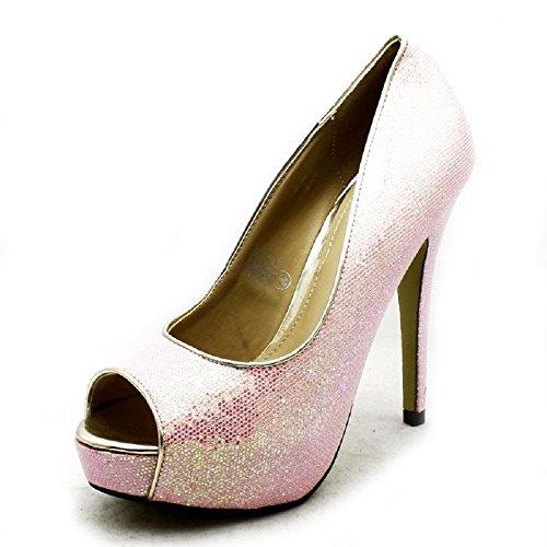 Mesdames peep brillant plate-forme de talon haut chaussures de soirée pink