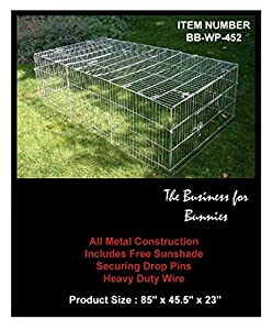 Bunny Business Rabbit / Guinea Enclosure with Roof Galvanised and Free Sunshade