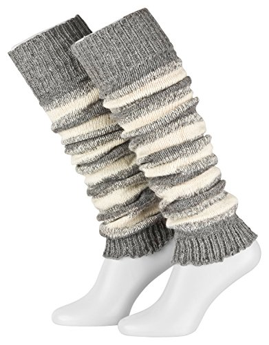 Piarini Damen-Stulpen Legwarmer Wolle Farbe grau-ecru
